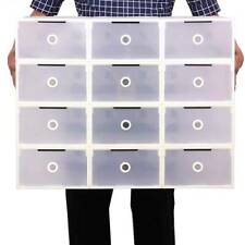 10PCS Plastic Shoe Storage Boxes Drawer Clear Organiser Container Stackable