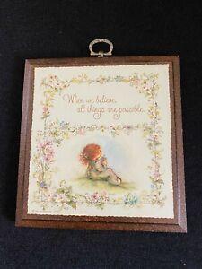 Vintage Hallmark Cards Mary Hamilton Wood Cute Girl Friendship Plaque Believe