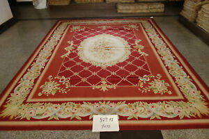 9'X12' Stunning Burgandy Victorian Blooming Rose French Royal Decor Aubusson Rug
