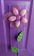 1 Round Purple/Pink Calif. Drought Flower Yard Art Metal Stake Decoration Summer