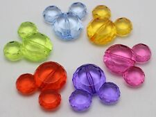 """10 Mixed Colour Transparent Acrylic Mouse Beads Charms Pendants 36mm (1.42"""")"""