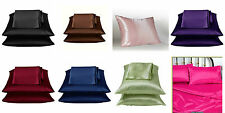 2 Pieces Soft Satin Pillowcase Solid Color Black/Purple/Navy/Brown/Burgundy