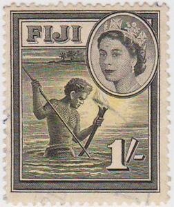 Stamp (F48) Fiji1954 1/- Black & Yellow SG289