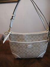 Brand New Women's Coach Peyton Convertible Hobo beige & white leather handbag
