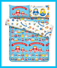 Very Cute Russian Matryoshka Doll Blue two side pattern Quilt Cover single