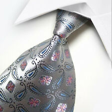 New Blue Gray Pink Floral Silk Tie WOVEN JACQUARD Mens Tie Leisure Necktie ST072