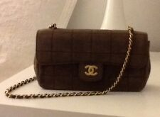 "Authentic CHANEL Brown Mini Classic Bag with ""CC"" Logo"