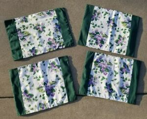 Set of 4 Vtg Sweet Violets Waverly Table Placemats Floral Purple Green 18x14