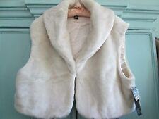 Alfani -Ivory Faux Fur Cropped Shawl Collar Vest--Large--Msrp $119.50-New w/tags