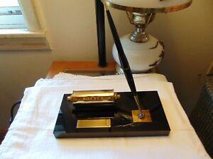 Vintage Parker Desk Set Fountain Pen Black Glass Base Calendar