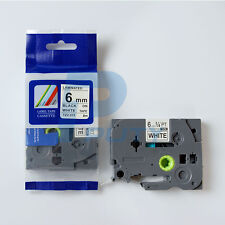 """TZ TZe For Brother S211 211 BLACK WHITE Label Tape Compatible 26 ft 6mm 1/4"""""""