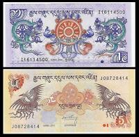 Bhutan Set 2 PCS, 1+5 Ngultrum Banknote, 2006-2013, P-27 28, UNC