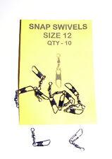 Snap Swivels Size 12  Pack 10 - Carp, Catfish, Pike, Sea Fishing etc