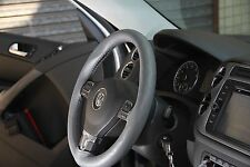 Grey Stitch Style PVC Leather Steering Wheel Wrap w/ Thread Sport 43002c Size M