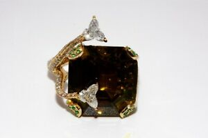 $64,750 25.71CT GIA CERTIFIED NATURAL CHRYSOBERYL, DIAMOND & EMERALD RING 18K