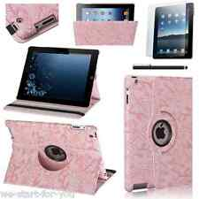 360° Protective Case iPad 4 & 3 & 2 Faux Leather Bag Smart Cover Flower-Pink