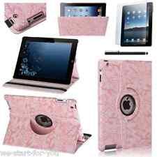 ★360° Schutz Hülle iPad 4 & 3 & 2 Kunstleder Tasche Smart Cover Case Blume-Pink