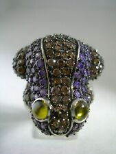 FROG RING WITH AMETHYST, PERIDOT & CHAMPAGNE CUBIC ZIRCONIA IN STERLING SILVER
