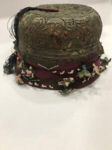 Antique unique Ottoman, Turkish hat, Embroidered with silver threads.