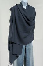 100% Cashmere Shawl/Wrap Hand Loomed Nepal Solid Bluish Gray 4 Ply Herringbone