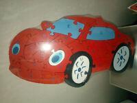 Puzzle de madera colores numeros con forma de coche para niños 28x16 cm