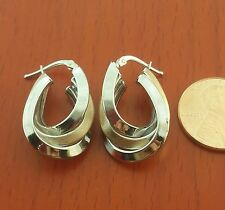 "14K SOLID 2-tone GOLD EARRINGS 1"" x 3/4""  Oval Twisted Motif hoop earrings"