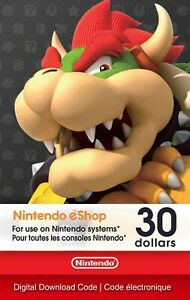 Nintendo eShop Gift Card $30 Canada Accounts ONLY Switch Wii 3DS Prepaid Card