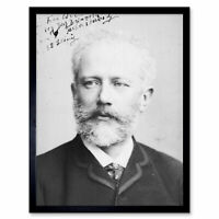 Autograph Portrait Russian Composer Tchaikovsky Photo Framed Wall Art Poster