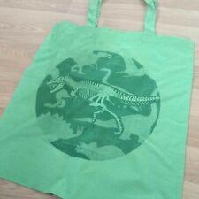 Dinosaur T-Rex Skeleton Halftone Green Trendy Shopper Tote Bag
