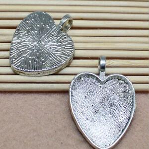 6pcs Retro Pendant Convex Bezel Setting Antique Bronze Heart Tray 25mm