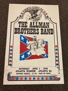The Allman Brothers Band Summer Campaign Atlanta 1974 Concert Poster 12x18