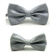 Fashion Men Child Boy Kid White Polka Dot Adjustable Wedding Bowtie Necktie Set