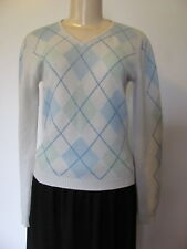 REBECCA MOSES 100% CASHMERE CREAM BLUE/MINT GREEN ARGYLE V-NECK SWEATER SIZE S