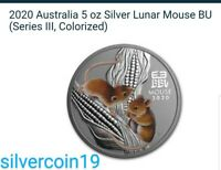 LUNAR YEAR OF THE MOUSE 2020 5 OZ SILVER COLOR COIN IN ORIGINAL CAPSULE SERIES 3