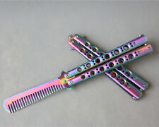 Colorful Practice BALISONG METAL BUTTERFLY Steel Trainer COMB with Sheath
