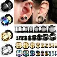 Pair Stainless Steel O-ring Tunnels Hollow Ear Expander Stretcher Plug Stud