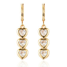Women 18K Gold Plated Love Heart CZ Cubic Zirconia Drop Dangle Earrings Jewelry