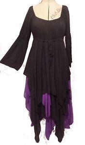 Gothic Fairy black purple peasant dress 12 14 16 18 20 22 24 Swirl Clothing