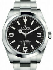 Rolex Explorer Stainless Steel Black Dial Mens 39mm Watch Box/Papers '14 214270