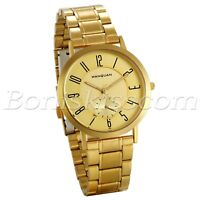 Men's Luxury Gold Tone Ultra Thin Stainless Steel Sub Seconds Quartz Wrist Watch