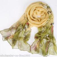 New Fashion Women's Long Soft Flower Print Chiffon Neck Scarf Wraps Shawl Stole