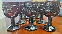 Vintage 1876 Avon CAPE COD Cranberry Ruby Red Glasses / Goblets 10 Piece