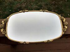 Vintage Signed Rectangular/Oval Matson Mirrored Vanity Tray Sunflower Handled
