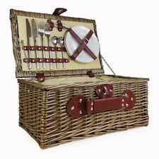Picnic Basket - Cream Lined 2 Person Wicker with Built in Chiller Compartment