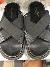 Massimo Matteo Black  Crisscross Slides - Men's Size 9.5 Made in Italy #M6935