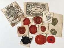 Lot de très anciens cachets de cire, armoiries, rois, Allemagne, Espagne...sceau