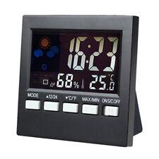 LCD Digital Indoor Weather Forecast Temperature Humidity Monitor Alarm Clock New