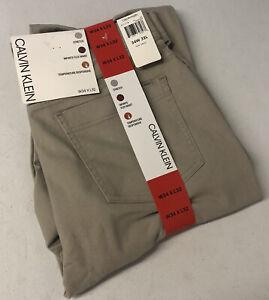 CALVIN KLEIN Mens Pants 34x32 Stretch Flex Waist Twill 5 Pocket Sandpaper TAN