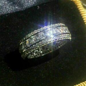 14K White Gold Over 2.40 Ct Round Cut Diamond Men's Engagement Wedding Band Ring