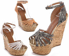 WOMENS LADIES PEEP TOE STRAPPY HIGH CORK HEEL WEDGE PLATFORM SANDALS SIZE 3-8